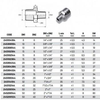 """245 Vite doppia ridotta zincata riduzione MM ø1""Mx1/2""M 245100124"