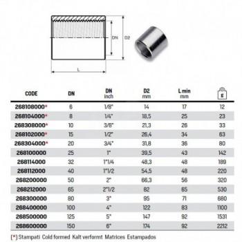 """Manicotto nero ø1/2""""F acciaio 268102000 - In acciaio nero filettati"""