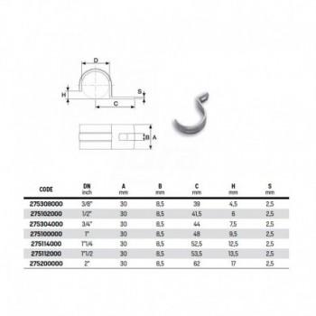 """Semicollare fissaggio tubo ø1"""" 275100000 - Collari/Staffe/Mensole"""