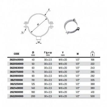 """Collare fissaggio tubo polietilene con manicotto ø 1/2"""" ø63 362063000 - Collari/Staffe/Mensole"""