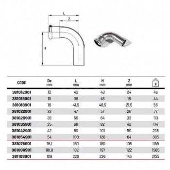 Curva 90° MF ø76,1 steelpres o-ring nero 381076901