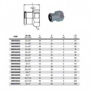 """Manicotto misto filetto F ø18x1/2""""F steelpres 390102018 - A pressare in acciaio"""