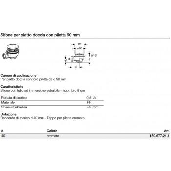 Sifone per piatto doccia con piletta 90 mm 150.677.21.1 - Sifoni in plastica