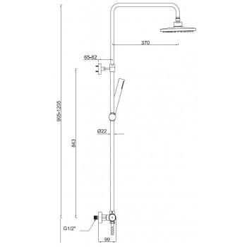 Colonna doccia pluvio tonda econ. con termostatico a 2 vie con deviazione integrata BNCOLCTN050002 - Gruppi per docce