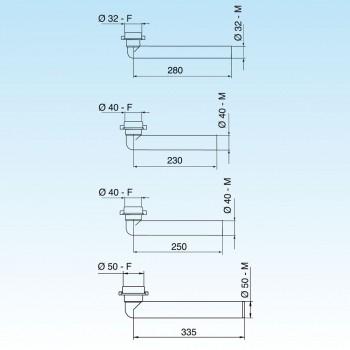 Jolly 002624 prol. Curva ø32x1.1/4 l.280 bianco 8.2624.03 - Accessori in plastica