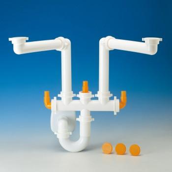 Spazio 2 sifone salvaspazio + scarico ottone Ø40 bianco 9.1275.02 - Sifoni in plastica