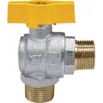 1073 Valvola a sfera VENUS a squadra per gas maschio/maschio con farfalla gialla in alluminio, con sistema di tenuta superior...