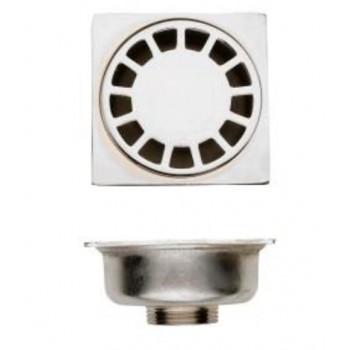 Pozzetto sifone per pavimento scarico verticale filettato 100x100 mm 95089999 - Pilette in ottone