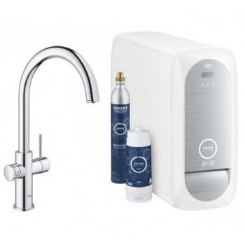 Grohe BLUE HOME sistema completo rubinetto con bocca a C e refrigeratore con sistema WiFi finitura cromo 31455001 - Per lavelli