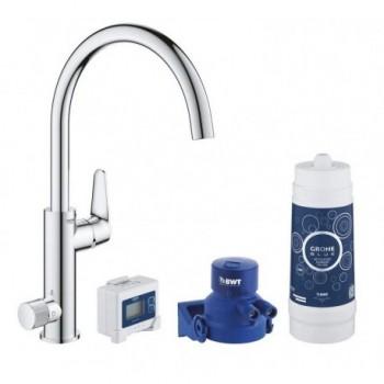 Grohe BLUE PURE BAUCURVE Miscelatore rubinetto monocomando per lavello con sistema filtrante dell'acqua finitura cromo lucido...