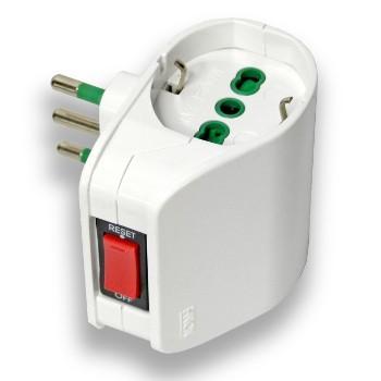 Adattatore doppio VERTICAL SYSTEM spina italiana 2P+T 10A 2 prese bipasso italo/tedesche 2P+T 16A con interruttore automatico...