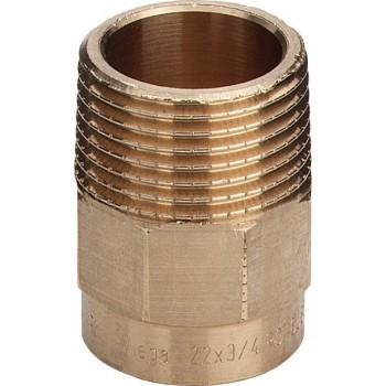 "94243G nipple filettatura Rp ø22x1/2""M bronzo a saldare 101749 - A saldare per tubo rame"