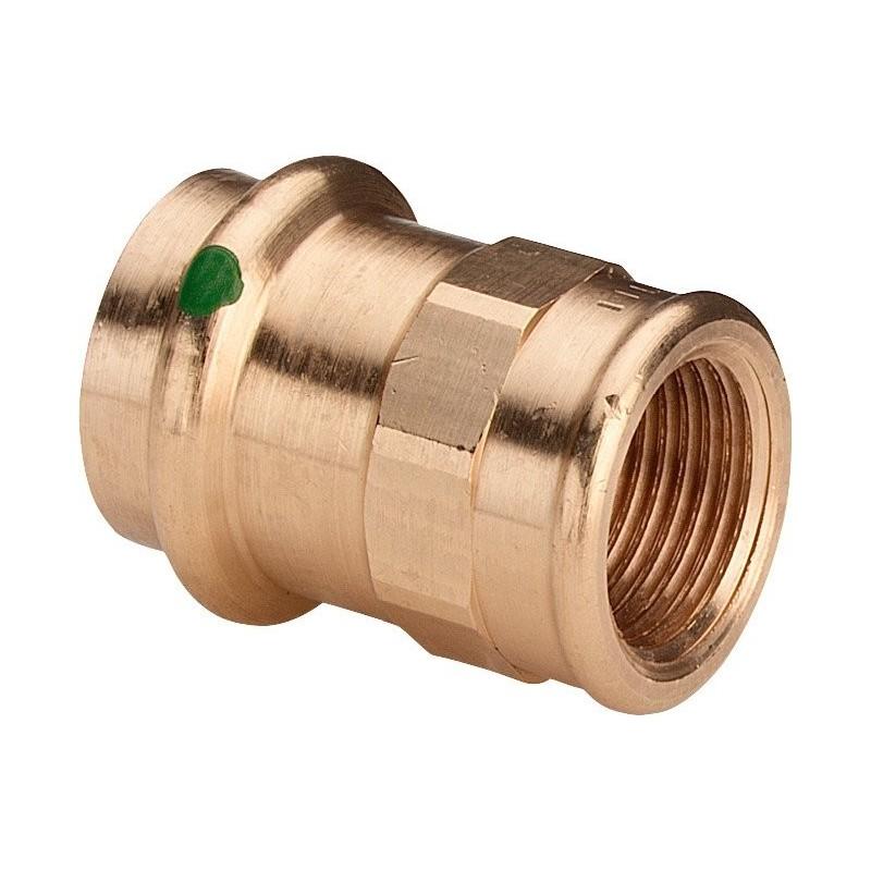 """2212 raccordo nipple filettatura Rp ø22x3/4""""F bronzo a pressare 108465 - A pressare in rame/bronzo per acqua"""