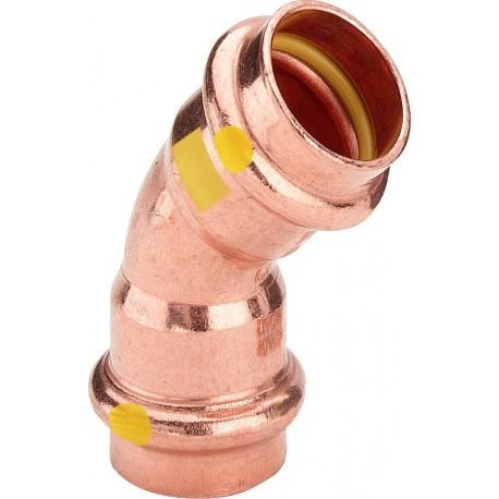 2626 curva 45° FF ø28 rame a pressare gas 345631 - A pressare in rame/bronzo per gas