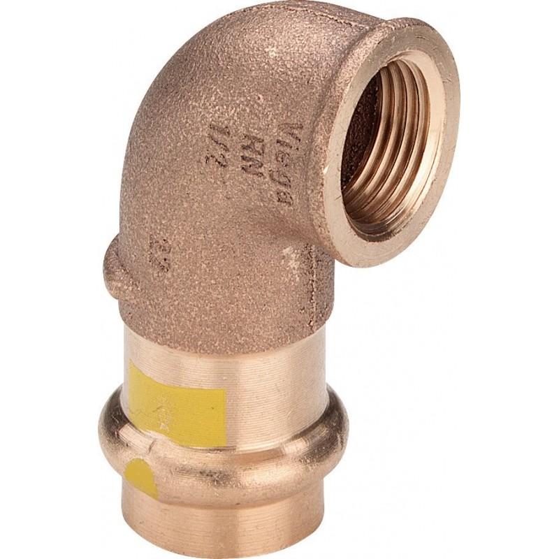 "2614.2 curva 90° FR ø22x3/4""F bronzo a pressare gas 345877 - A pressare in rame/bronzo per gas"