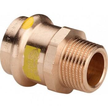 "2611 raccordo nipple filettatura Rp ø22x1/2""M bronzo X gas 346164 - A pressare in rame/bronzo per gas"