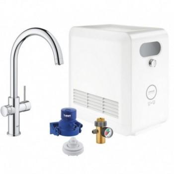 Grohe BLUE PROFESSIONAL miscelatore monocomando bocca a C con sistema filtrante e WiFi finitura cromo 31323002 - Per lavelli
