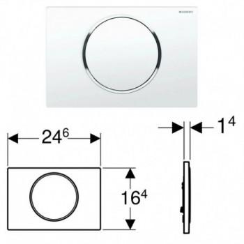 Geberit SIGMA10 placca di comando per risciacquo con possibilità d'interruzione, placca e tasto colore bianco, anello design ...