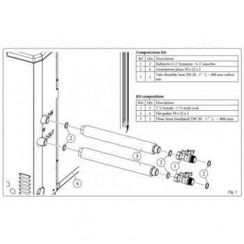 """Immergas Kit rubinetti di intercettazione da 1"""" con tubi flessibili in acciaio antivibranti 3.025954 - Accessori"""