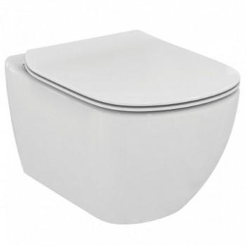 Tesi Vaso sospeso completo di sedile slim a cacciata co scarico a parete, fissaggi nascosti, bianco T354201 - Vasi WC