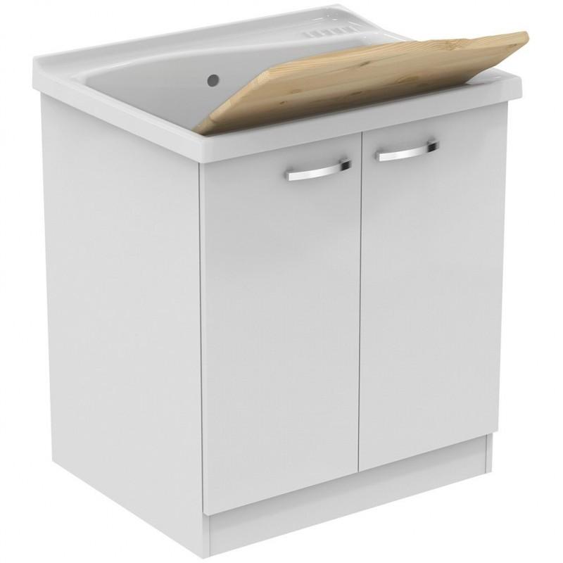LAGO mobile sottolavatoio con asse in legno 75 x 61 cm, bianco J0027PW - Mobili Bagno